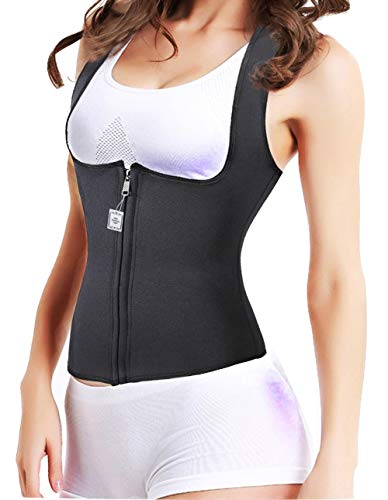 MODEOR Slimming Neoprene Vest Hot Sweat Shirt Body Shapers for Weight Loss Womens Black (M) Reversible Down Vest