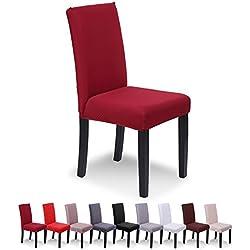 SaintderG® Coprisedie con schienale 6 pezzi moderna protettiva in elastico, lavabile Estraibile, molto facile da pulire e resistente, coprisedile, moderna sala da pranzo, hotel, arredamento ristorante (Bordeaux, 6 pezzi)