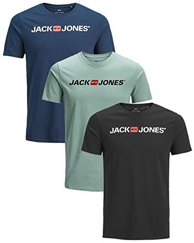 JACK & JONES Herren Jjecorp Logo Tee Ss Crew Neck Noos T-Shirt (3er Sparset 7(Corp Logo Slim), 3XL)