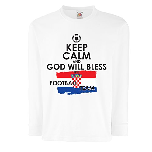 Kinder-T-Shirt mit Langen Ärmeln Fußball Weltmeisterschafts-Fußball-Meisterschaft 2018, kroatische Fußballnationalmannschaft (7-8 Years Weiß Mehrfarben) -