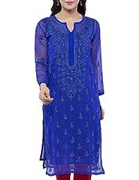 ADA Handicraft Lucknow Chikankari Faux Georgette Kurti Kurtas Regular Wear A229395