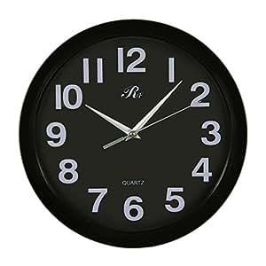 Valdler RUIFA Orologio da Parete Indoor Silenzioso in plastica con quadrante di 12 inch di diametro con numeri arabi Nero