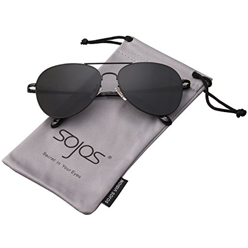 (SOJOS Mode Flieger Metallrahmen Verspiegelt Linse Unisex Piloten Sonnenbrille mit Frühlings Scharnieren SJ1030 mit Schwarz Rahmen/Grau Linse)