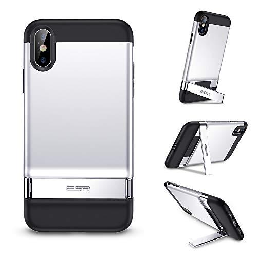 ESR Funda iPhone Xs Max, Estuche con Soporte de Metal [Soporte Vertical y Horizontal] [Protección Contra Caídas Reforzada] Parte Posterior Dura de PC con Parachoques de TPU Suave para iPhone de Xs Max-Plata
