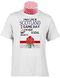 ENGLAND RUGBY TEE SHIRT, I May Live In Scotland but on Matchday My Heart And Soul Belong to England Rugby. Fantastic gift for fans of English Rugby (XL)