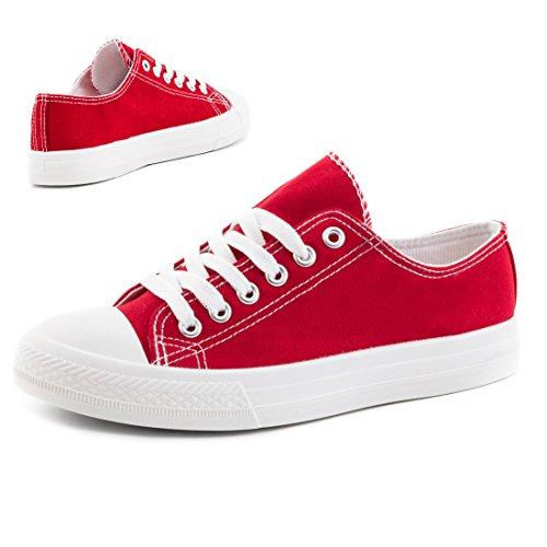 Trendige Unisex Damen Kinder Herren Schnür Sneaker Low Top Schuhe Canvas Textil Urban Rot