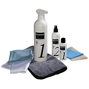 """Set completo de limpiador de pintura """"Auto, Boat and Leisure"""" con 125 ml de Nanotol Cleaner (concentrado de recarga), 250 ml de Protector de Nanotol (sello) y 1000 ml de mezcla lista para limpiar"""