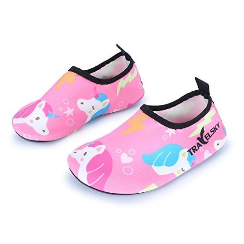 c0a074b86d9 JOINFREE Niños Niñas Nadar Zapatos para el Agua Deportes acuáticos  Calcetines Zapatillas Zapatos para la Piscina (Unicornio Rosa