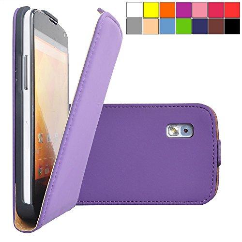 COOVY® Cover für LG LG Google Nexus 4 E960 Slim Flip Case Tasche Etui inklusive gratis Displayschutzfolie | Farbe lila