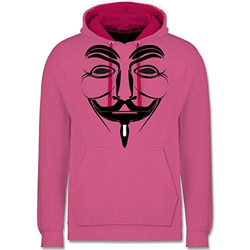 Shirtracer Nerds & Geeks - Anonymous Namenlos Hacker - XXL - Rosa/Fuchsia - JH003 - Kontrast Hoodie - Oversize-rechner