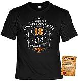 T-Shirt 18 Geburtstag - Geburtstagsshirt Sprüche Jahrgang 2001 : Club der Erwachsenen 18. 2001 - Geschenk-Shirt zum 18.Geburtstag Frau/Mann + lustige Urkunde Gr: XL