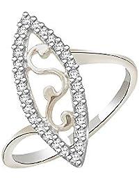 Silvernshine 0.24 Cts Round Cut Sim Diamond Wedding Anniversary Ring In 14KT White Gold PL