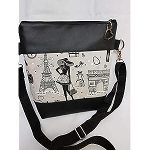 Handtasche Paris Madame Tasche Kunstleder schwarz Umhängetasche mit Anhänger Paris Star
