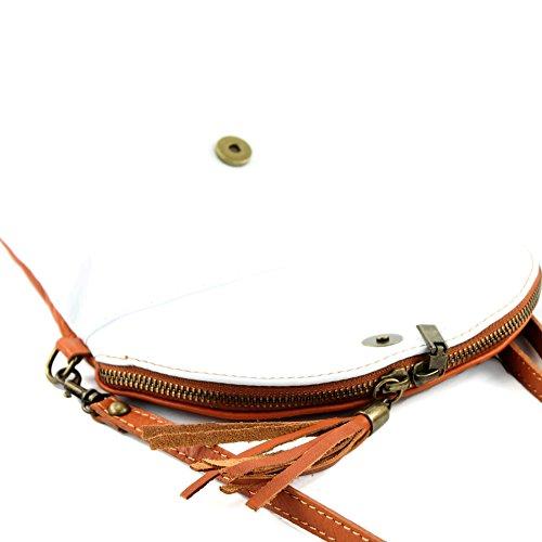 modamoda de - ital. Ledertasche Clutch Umhängetasche Unterarmtasche Klein Nappaleder T07 Weiß/Camel