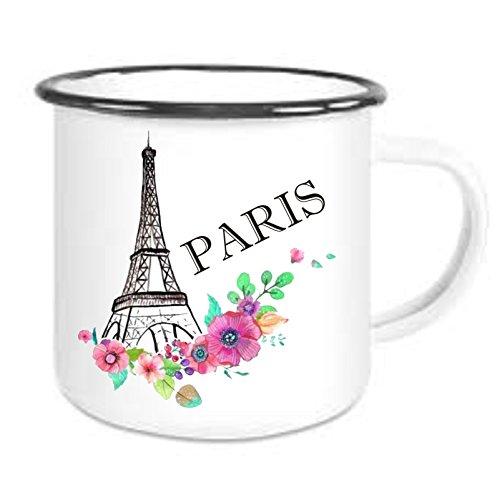 crealuxe Emailtasse mit Rand Paris - Kaffeetasse mit Motiv, Bedruckte Email-Tasse mit Sprüchen Oder...