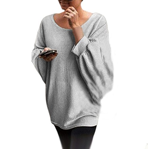 Sannysis Sudadera para mujer Batwing suéter de punto (gris)