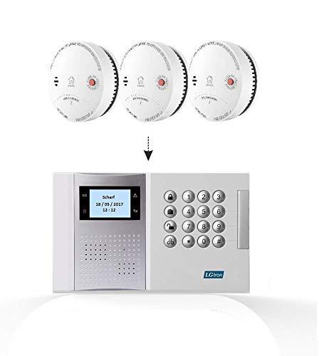 LGtron LH-99F Funk Rauch-/Hitzemelder TÜV geprüft EN14604 Zertifiziert mit 10-J.-B im Vernetzbaren Feueralarmsystem App/SMS/Anruf lauter Alarmton Zentrale mit 3er-Rauchmelder Set