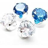 Räumungsverkauf. 2 Paar Herren Silber Ohrstecker mit Kristall und Swiss Blau AAA Zirkonia gemacht.