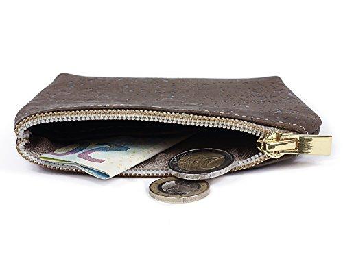 SIMARU borsa portamonete / borsello portamonete in nobile sughero / cuoio di sughero, piccola borsa porta soldi con scomparto aggiuntivo per banconote e ricevute, portamonete in molti colori (marrone) marrone