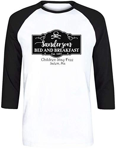 Sanderson Bed and Breakfast EST.1693 - Sanderson Bed and Breakfast Herren Weiß Schwarz Baseball T-Shirt 3/4 Ärmel Größe M | Men's White Black Baseball T-Shirt Size M