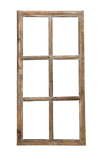 Fenster / Holzfenster Rahmen 43cm x 85cm Dekofensterrahmen braun Antik