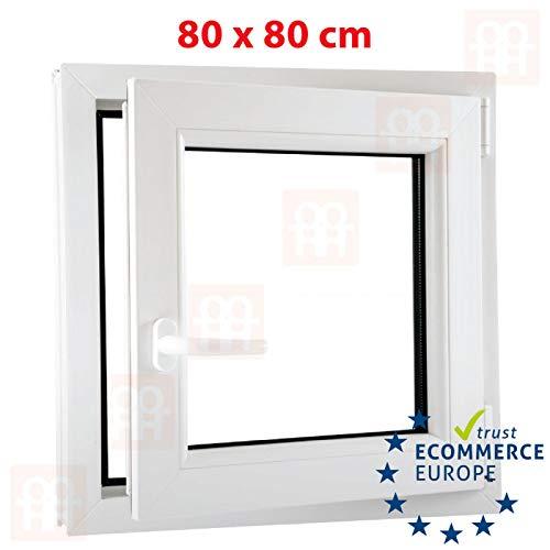Anschlag:DIN Rechts Glas:3-Fach BxH:600x1000 Kunststofffenster Badfenster Ornament Chinchilla Weiss Dreh//Kipp