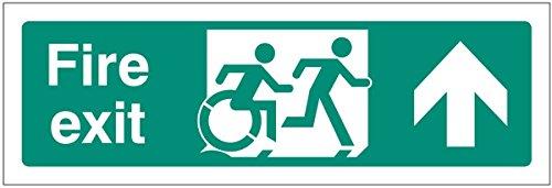 Caledonia Schilder 12164l Behinderte Fire Exit Pfeil bis inclusive Design Zeichen, starrer Kunststoff, L: 450mm x 150mm (Ein Zeichen-design)