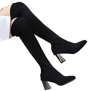TianWlio Stiefel Damen Behalten Sie Warmen Schuhspitze Zehe Flache Elastische Stiefel Socken über Dem Knie Boot Black 35-40