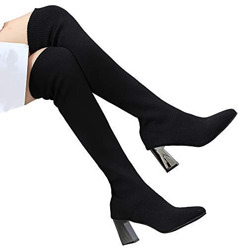 TianWlio Stiefel Damen Behalten Sie Warmen Schuhspitze Zehe Flache Elastische Stiefel Socken über Dem Knie Boot Black 38