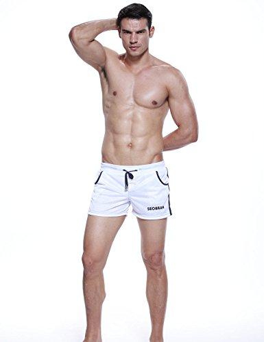 SEOBEAN Herren Low Rise Sport Weiche Running Training Short Pants 2501 Weiß