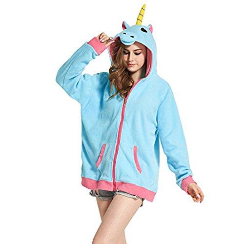 Casa Adulte Sweat à Capuche - Unisexe Hoodies Cosplay Costume Pyjama Animaux poche Tops Blouse Halloween Jacket Sweatshirts S-XL Bleu Licorne