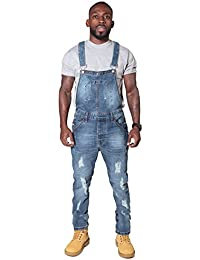 e5443378a3 Ryujee Slim Fit Men s Dungarees - Pale Distressed Denim Bib Overalls Bib  Down Dungarees JAYBLEEDBLUE