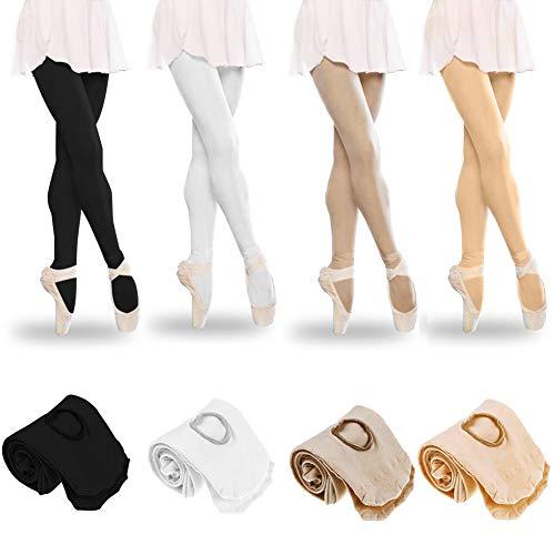 Tubwair Damen Ballett-Strumpfhose, Damen, Mädchen, Basic, Cabriolet, Übergang Ballett-Tanzstrumpfhose, nahtlos, Größe L, Weiß - 3