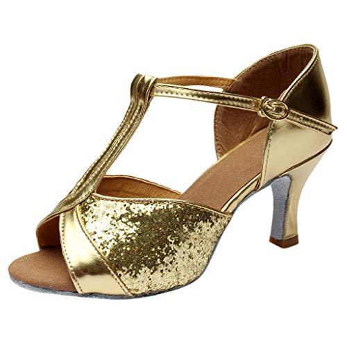 REALIKE Damen Spitze High Heels Sandalen Tanzschuhe Elegant Einfarbig Crossover Schnalle Lateinische Tanzschuhe Sommerschuhe Gold, Silber, Pink, Braun Frauen Bequem Touch Schuhe