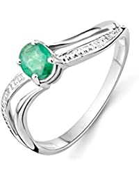 Miore Gold Ring, 9ct White Gold, Emerald Ring, Size L, MA938RM