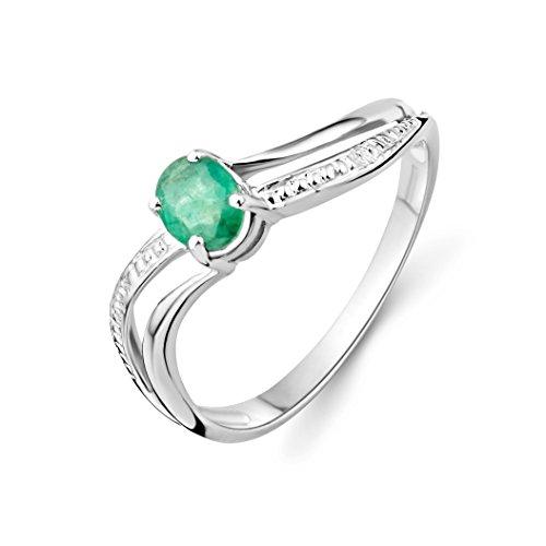 Miore Damen-Ring 375 weißgold mit Emerald Gr. 56 (Herren Ring Emerald)