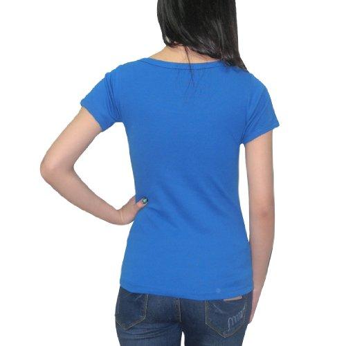 Damen Exotic Thai Fashion Casual Short Sleeve Blouse Top - Blau Blau