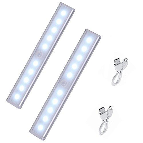 Desxz LED Schrankbeleuchtung, Aufladbare led schrankbeleuchtung bewegungsmelder, 10 LED Nachtlicht mit Bewegungsmelder Magnetstreifen für Badezimmer / Treppenhaus / Hallway / Garage(2 Pack)
