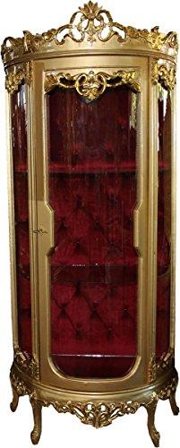 Casa Padrino Barock Vitrine Gold/Bordeaux H 205 cm, B 86 cm - Vitrinenschrank - Wohnzimmerschrank...