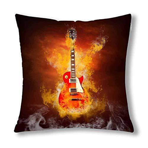 Musikalische Instrumet Rock-Gitarre in Flammen des Feuers Kissen Kissen, Dekokissen mit Reißverschluss für Schlafzimmer Sofa Decor - E-gitarre Feuer