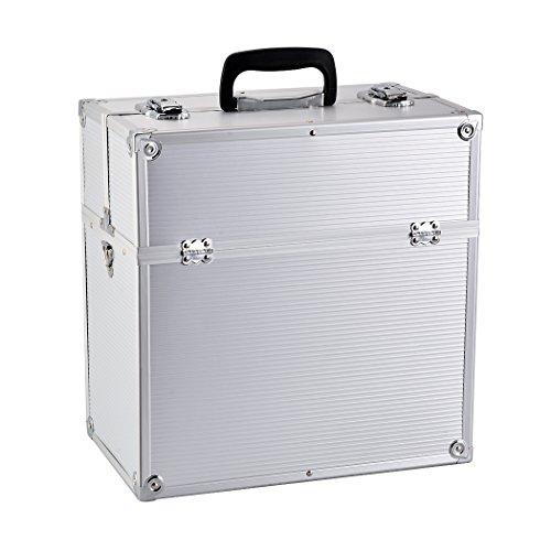 BATHWA BATHWA Aluminium Kosmetikkoffer Schminkkoffer Kosmetic Makeup Storage Beauty Case 36 x 22 x 37 cm, Silber