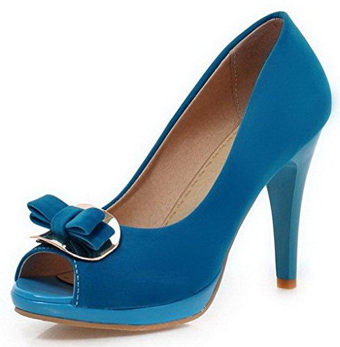 AllhqFashion Femme Couleur Unie Dépolissement Stylet Tire Ouverture Petite Chaussures Légeres Bleu