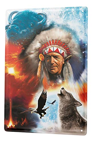Blechschild Western Cowboy Indianer Deko Wolf Bison Adler Metallschild 20X30 cm