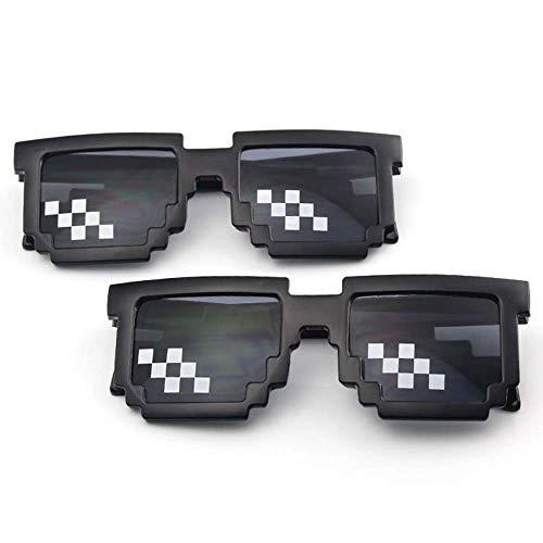 Second Sunny 2er Pack Kinder Sonnenbrille Neuheit Retro Gamer Geek Brille für Jungen und Mädchen Thug Life Sonnenbrille 8-Bit Pixel Mosaic Unisex Brille,Style1