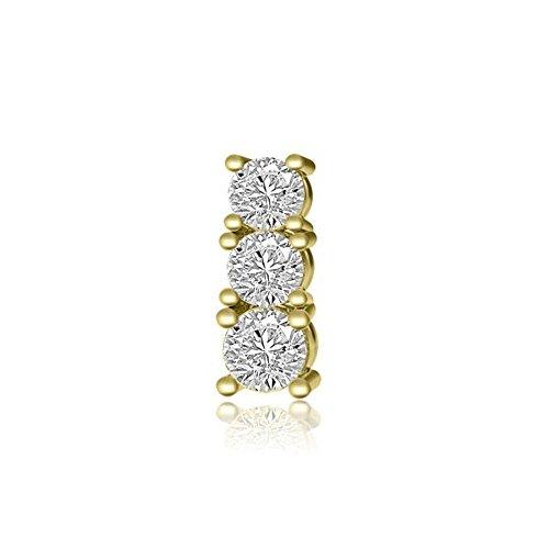 Anhänger für Damen mit runden Brillantschliff diamanten in 18kt (750) Gelbgold mit Halsband (Mädchen-shopping-läden)