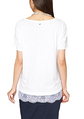 s.Oliver Damen T-Shirt in Melangeoptik mit Spitzeneinsatz Weiß (white 0100)