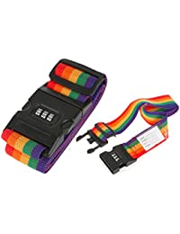 Travel Accessories -Adjustable Luggage Strap Travel Suitcase Baggage Packing Belt Security Rainbow Straps With...