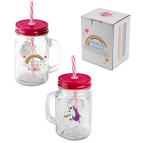 Close Up Einhorn Trinkglas Life is all Unicorns and Rainbows mit Henkelgriff/Glas inkl. Mehrweg-Strohhalm