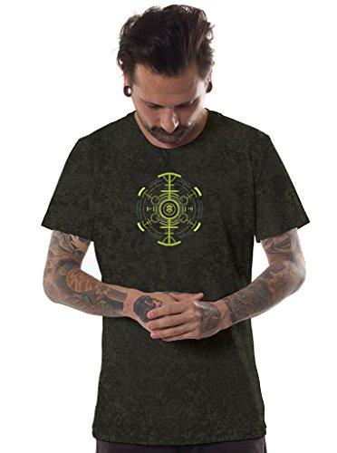 Herren Psychodelisches T-Shirt Psycho Kröte Grafik Psi Trance Hypnotisch Druck Schwarz Oberteil säureolivfarben