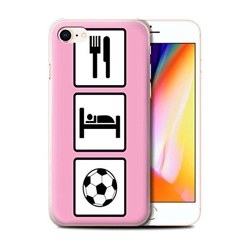 Stuff4 Hülle / Case für Apple iPhone 8 / Fußball/Blau Muster / Essen/Schlaf Kollektion Fußball/Rosa
